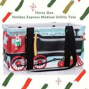 Thirty One Holiday Express Medium Utility Tote NWT